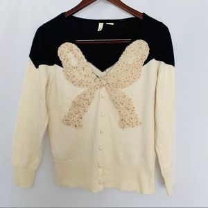 MOTH ANTHRO | Bow Sequin Cardigan M L